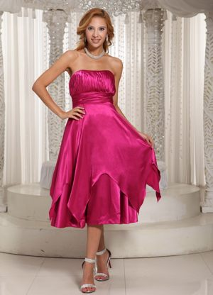 Hot Pink Ruched Taffeta Bridesmaid Dresses in St Helens Merseyside