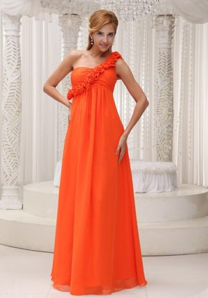 Hand Made Flowers One Shoulder Orange Ruched Chiffon Bridesmaid Dress