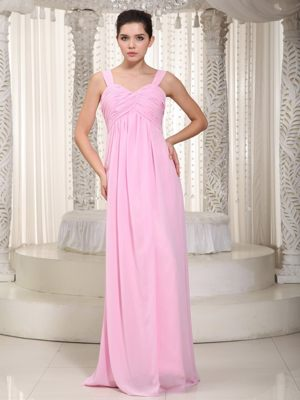 Ruched Straps Baby Pink Chiffon Bridesmaid Dresses in Southport