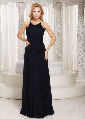 Scoop Black Sash Rock Ferry Bridesmaid Dress for Wedding Party