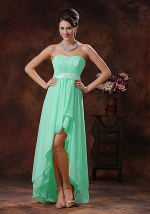 Apple Green High-low Bridesmaid Dresses with Belt in Liverpool