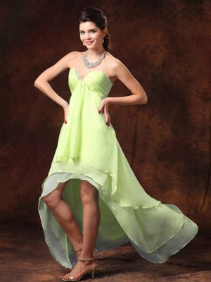 Beading Yellow Green High-low Bridesmaid Dresses in Bromborough
