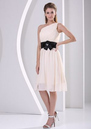 One Shoulder Champagne Flower Belt Bridesmaid Dress in Skegness