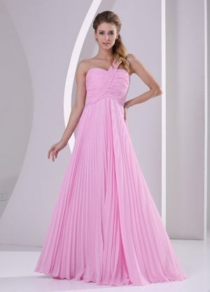 Pink One Shoulder Pleated Chiffon Bridesmaid Dresses with Brush Train
