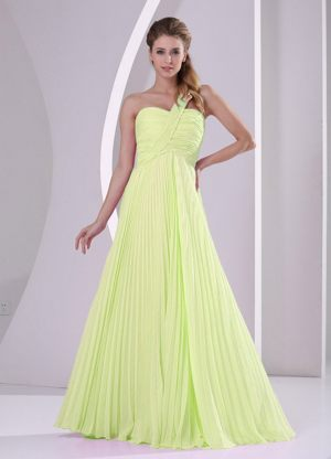 Pleated One Shoulder Chiffon Yellow Metheringham Bridesmaid Dress