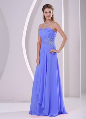 Beaded Blue Ruching Chiffon Bridesmaid Dresses in Mablethorpe