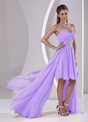 Detachable High-low Beaded Lavender Chiffon Bridesmaid Dresses