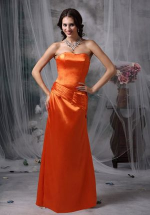 Ruched Orange Red Strapless Bridesmaid Dress in Ingoldmells 2014