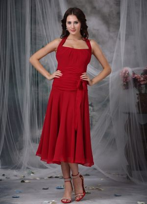Halter Wine Red Chiffon Ruching Bridemaid Dress for Summer Wedding