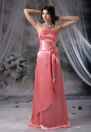 Bowknot Beaded Watermelon Red Strapless Goulceby Bridesmaid Dress