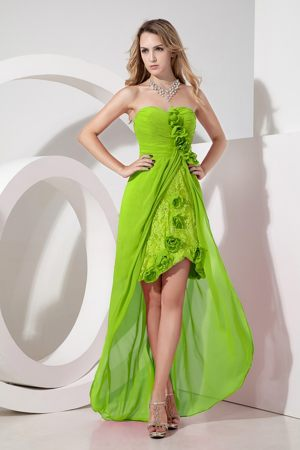 Lace Embroidery Flowers Yellow Green High-low Bridesmaid Dresses