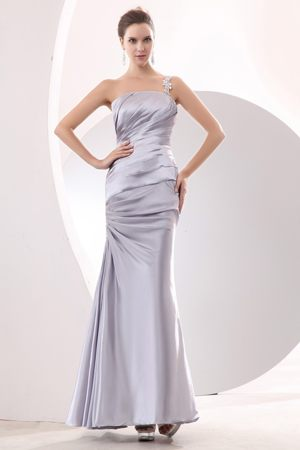 Appliques One Shoulder Ruched Sliver Bridesmaid Dress in Corringham