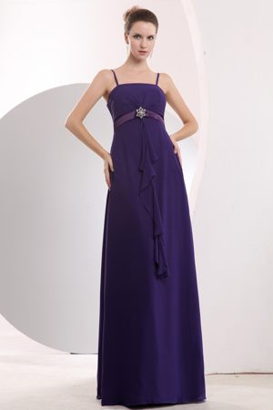 Purple Sashes Beaded Chiffon Boston Bridesmaid Dress with Straps