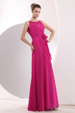 Bateau Chiffon Hot Pink Sash Bridesmaid Dress in Lincolnshire