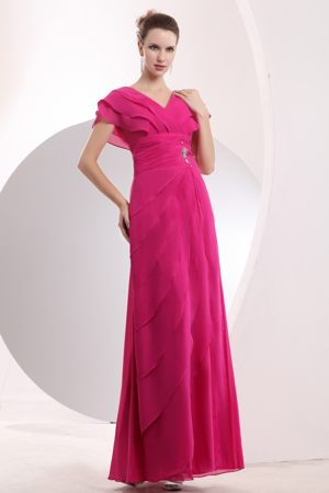 Hot Pink V-neck Layered Chiffon Beaded Bridesmaid Dress in Alford