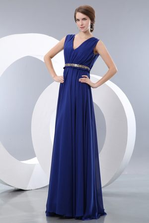V-neck Royal Blue Train Whetstone Bridesmaid Dress with Beaded Belt