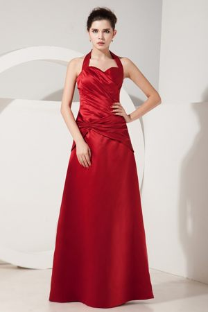 Halter Ruched Wine Red Satin Bridesmaid Dresses in Market Harborough