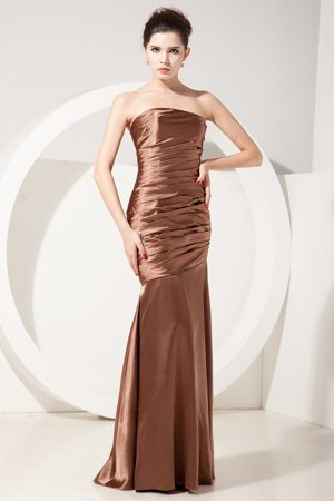 Chocolate Ruched Taffeta Mermaid Bridesmaid Dresses in Loughborough