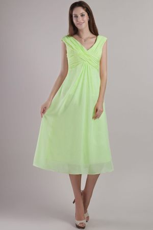 V-neck Chiffon Yellow Green Ruched Bridesmaid Dresses in Leicester