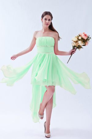 Asymmetrical Beaded Chiffon Apple Green Bridesmaid Dress in Kegworth