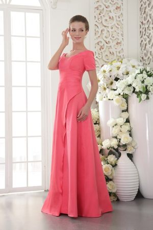 Scoop Coral Red Satin Fleckney Bridesmaid Dress with Short Sleeves