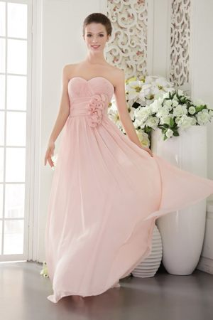 3D Flowers Pink Chiffon Ruched Maternity Charnwood Bridesmaid Dress
