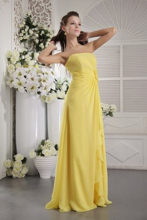 Yellow Strapless Chiffon Flowers Bridesmaid Dresses in Waterfoot