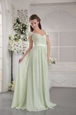 Off The Shoulder Chiffon Ruched Apple Green St Annes Bridesmaid Dress
