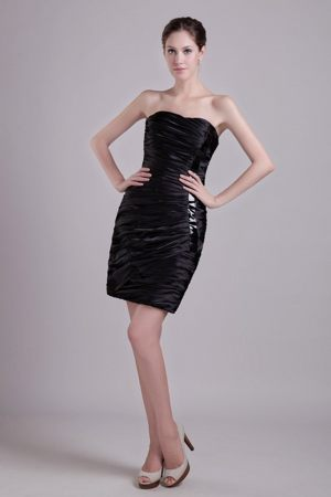 Ruched Black Strapless Short Taffeta Bridesmaid Dress in Morecambe