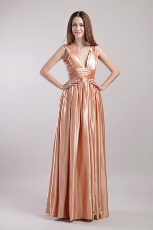 Pleated V-neck Taffeta Champagne Bridesmaid Dress in Failsworth