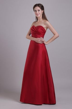 Wine Red Sweetheart Taffeta Ruched Darwen Bridesmaid Dresses 2013