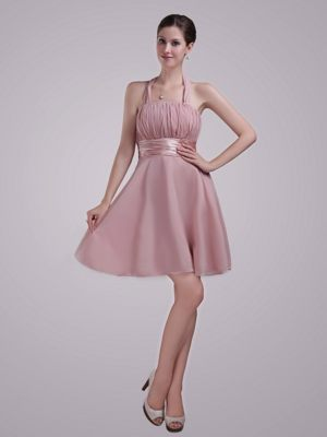 Halter Pink Chiffon Ruched Bridesmaid Dress in Cleveleys Lancashire