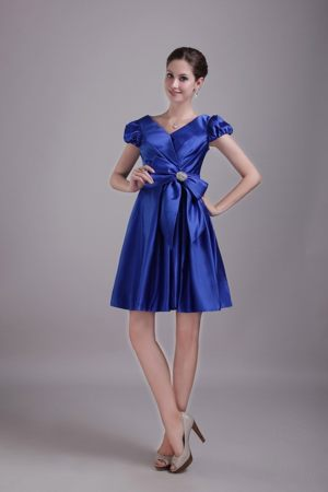 Blue V-neck Taffeta Beaded Bow Bridesmaid Dress in Chorley Lancashire