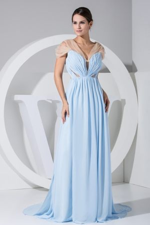 V-neck Side Slit Light Blue and Champagne Ruched Bridesmaid Gown 2014