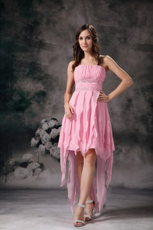 Rose Pink High Low Beaded Ruched Bridesmaid Dress in Bassenthwaite Lake