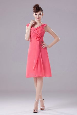 Ruched Handle Flower Straps Chiffon Watermelon Bridesmaid Dress in UK