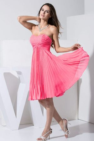 Pleated Hot Pink Beading Organza Bridesmaid Dresses in Stonehaven