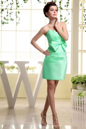 Apple Green Bow Ruched Strapless Bridesmaid Dress in Insch Grampian