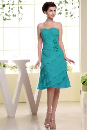 Teal Ruffles Bridesmaid Dress with Hand Made Flowers in Portlethen