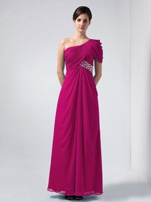 Coral Red Beaded Chiffon One Shoulder Bridesmaid Dress in Grampian