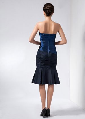 Ruched Appliques Navy Blue Strapless Taffeta Beading Bridesmaid Dress