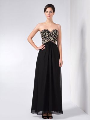 Black Beaded Sweetheart Chiffon Wedding Fochabers Bridesmaid Dress
