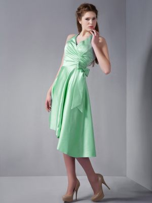 Halter Asymmetrical Apple Green Ruched Craigellachie Bridesmaid Dress