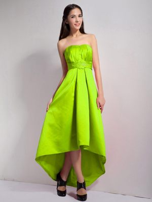 High-low Appliques Yellow Green Bridesmaid Dresses in Cairnbulg