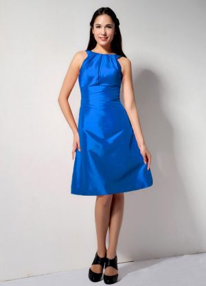 Latest Blue Bateau Taffeta Wedding Bridesmaid Dress in Bucksburn