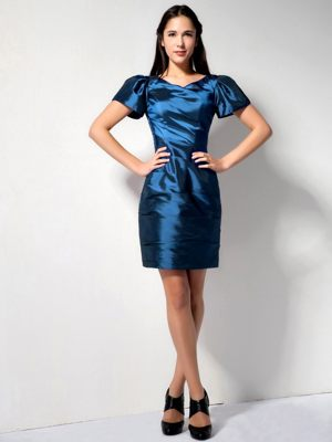 Navy Blue V-neck Taffeta Bridesmaids Dresses with Short Sleeves