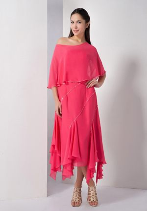 Asymmetrical Sequins Chiffon Coral Red Strapless Bridesmaid Dress
