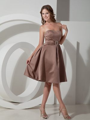 Belt Ruched Beading Brown Lace Back Bridesmaid Dresses in Aberdeen