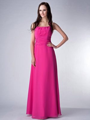 Square Chiffon Ruched Hot Pink Bridesmaid Dress in St Andrews Fife