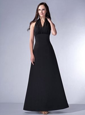 Black Ruching Halter Satin Bridesmaid Dresses in Strathmiglo Fife